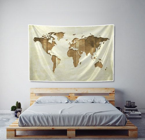 World map tapestry sepia stripes on fabric art print wall hanging tapestry striped sepia world map printed fabric wall hanging wall tapestries are made of 100 gumiabroncs Gallery