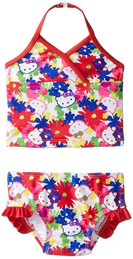 4003809d91 NWT Baby Girls 24 M HELLO KITTY Two Piece Floral Tankini Swimsuit Swim Suit  Red  HelloKitty  TwoPiece