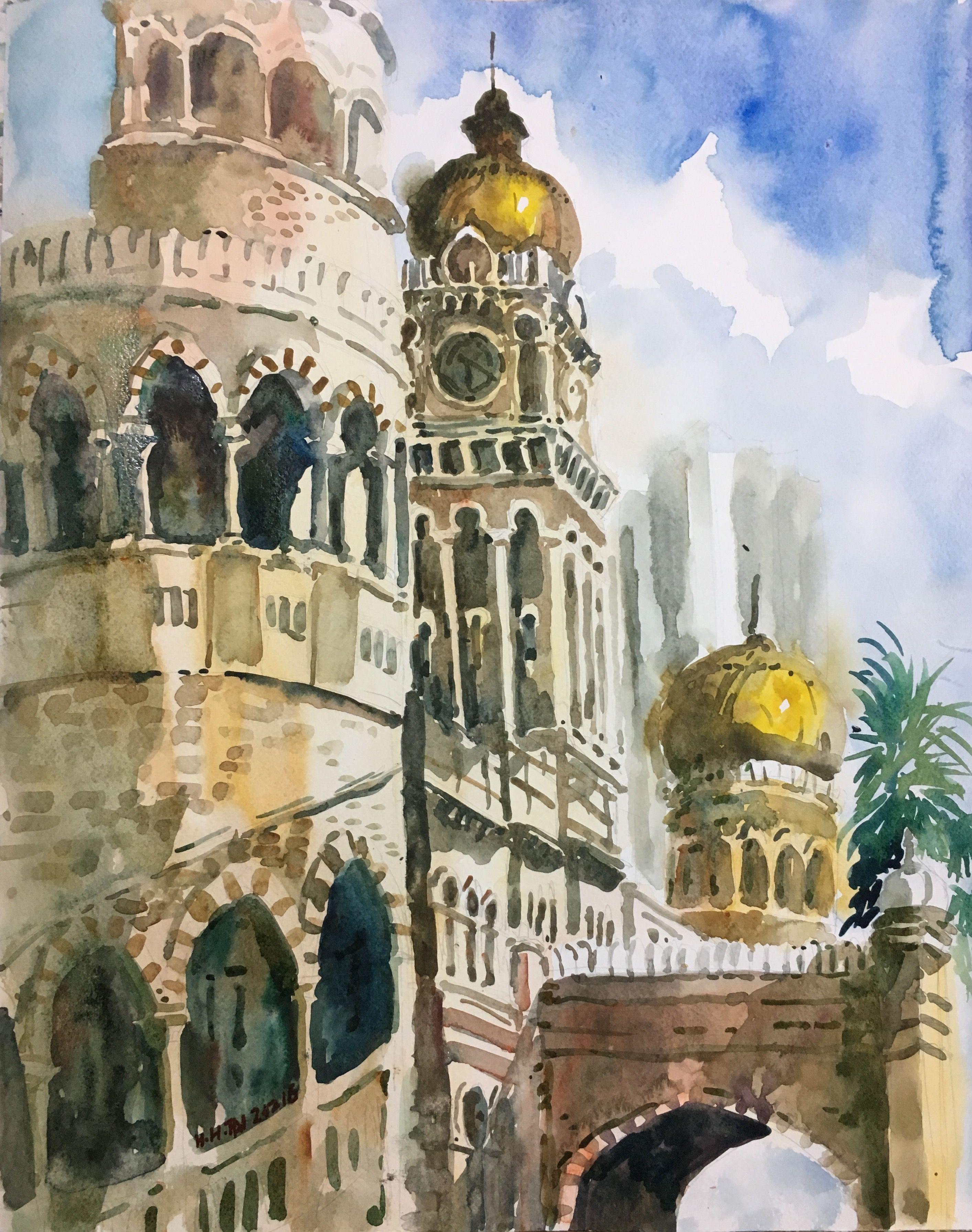 Bangunan Sultan Abdul Samad Watercolour By Brian Tai Art Lessons Art Ancient