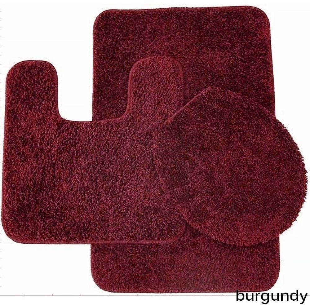 Attrayant Burgundy Bathroom Rug And Toilet Seat Cover With Non Skid Backing (Set Of 3)