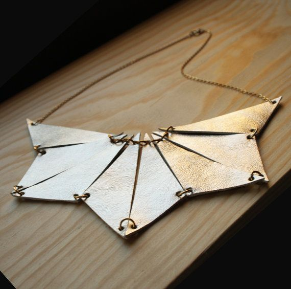 Geometric Statement Necklace,  Leather Triangle Statement Necklace,  made of Ivory gold leather. $65.00, via Etsy.