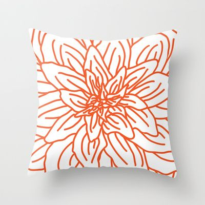 Modern Abstract Orange Flower Throw Pillow By Aldari Art Studio