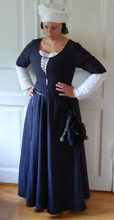 My blue herringbone shortsleeved kirtle, also parted with