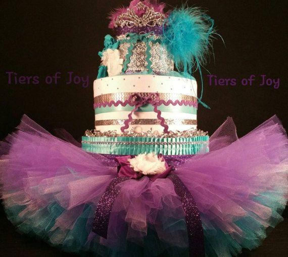 3 Tier Mardi Gra Diaper Cake W Tutu Skirt By TiersofJoybyUs