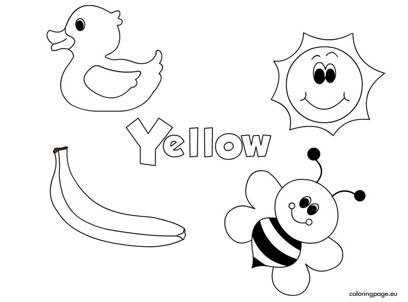 The Color Yellow Coloring Page Preschool Colors Learning Colors Preschool Coloring Pages