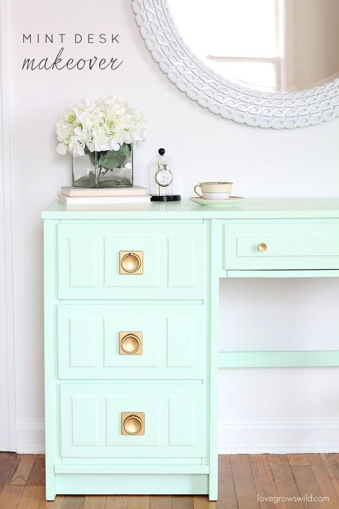Mint Desk Makeover Love Grows Wild Desk Makeover Home Decor Furniture Makeover