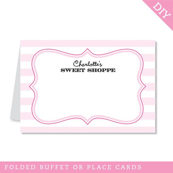 INSTANT DOWNLOAD Sweet Shoppe Party Buffet Cards - EDITABLE ...