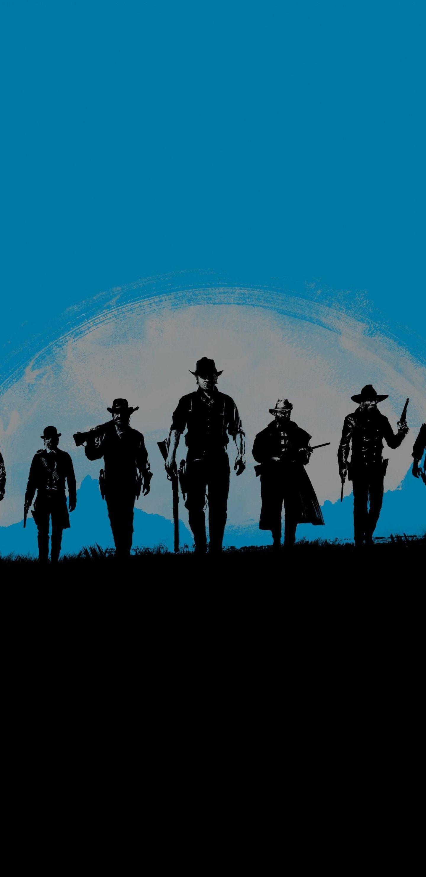 Red Dead Redemption 2 Blue Poster Artwork Minimal 1440x2960