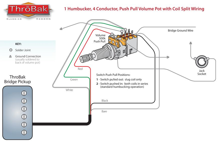 Throbak Push Pull Coil Split Humbucker Guitar Pickup Wiring