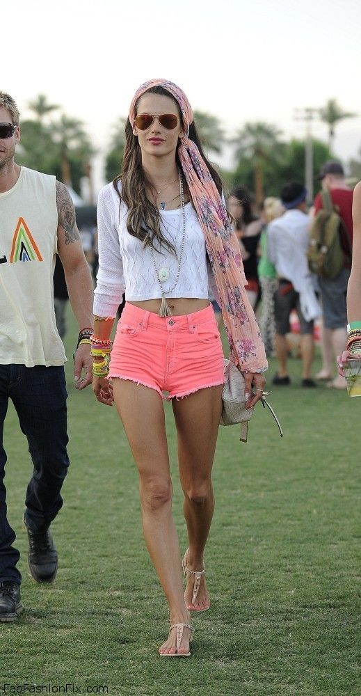 Alessandra Ambrosio street style with pink denim shorts, crop top ...