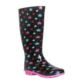 a528a0833ea 79370 Womens Black Wellington with Multi Coloured Star Print £12.99 ...