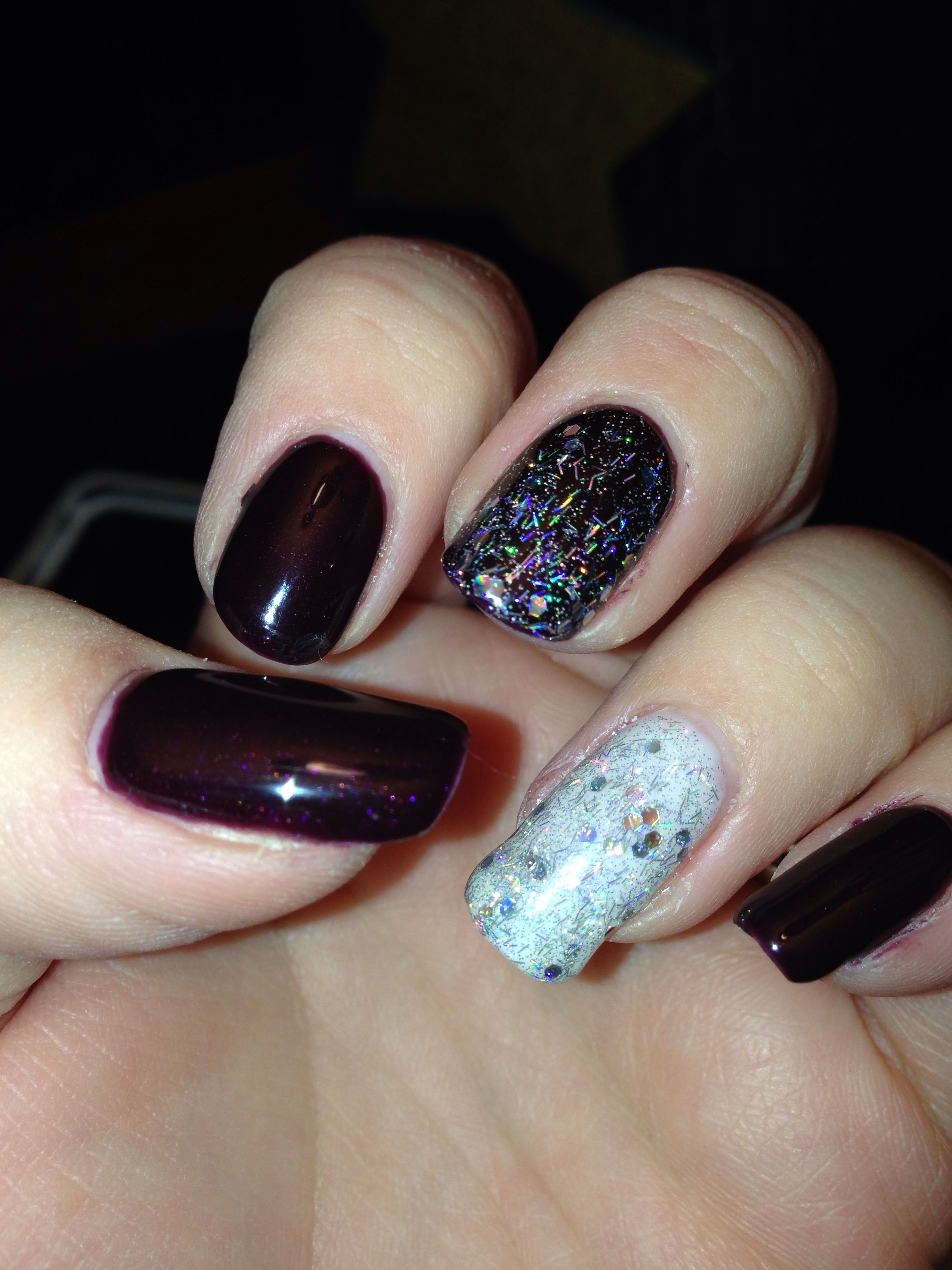 Dark cherry nails with glitter | Nails I\'ve painted | Pinterest ...