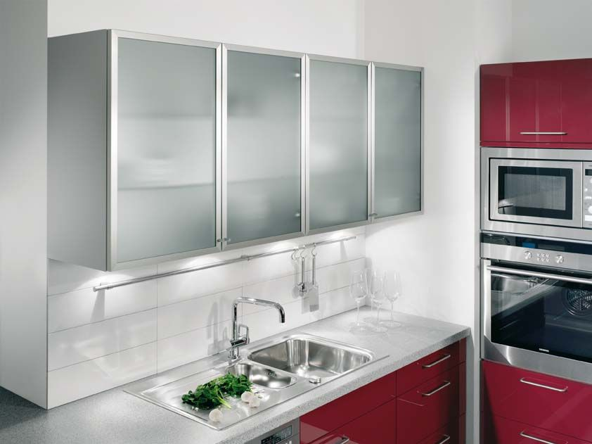 Picture of Kitchen Wall Units with Aluminium Framed Satinised Glass ...