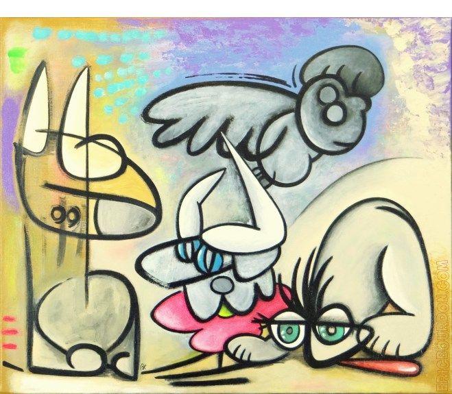 Eric Bourdon Traversee Du Desert Peinture Acrylique Sur Toile De