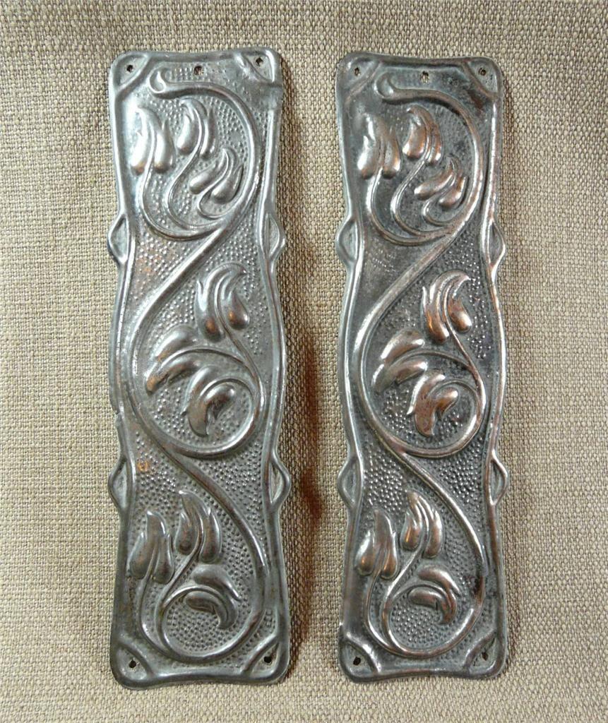 X art nouveau tinplate antique door finger plates vine leaves