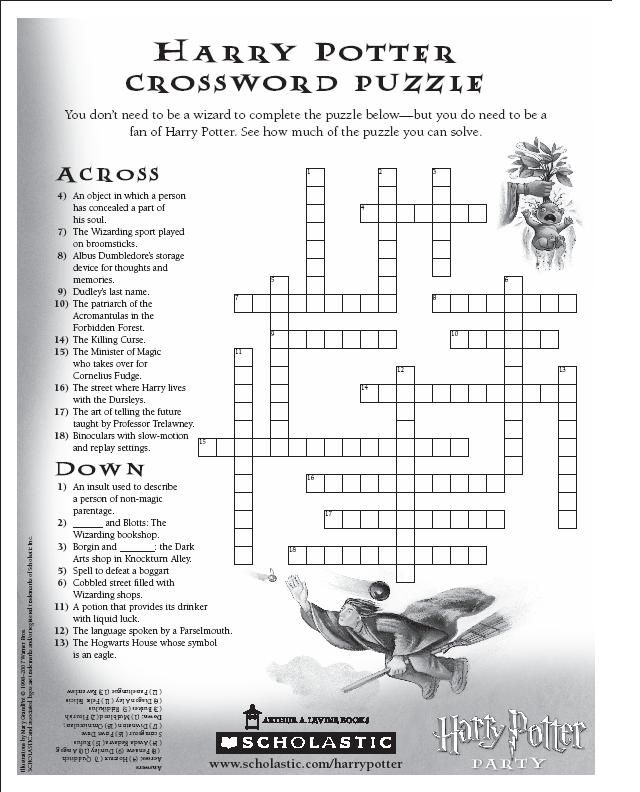 Harry Potter Book 1 Worksheets : Harry potter crossword puzzle computer fonts printables