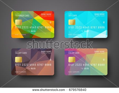 Set Of Templates Of A Credit Debit Bank Card With A Colored Polygonal Abstract Background For Different Leve Credit Card Design Debit Card Design Card Banner