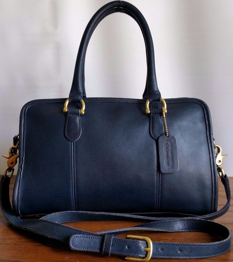 b24c1fea6c Vintage Coach BEAUMONT Navy Blue Leather Satchel Speedy Shoulder Bag ...