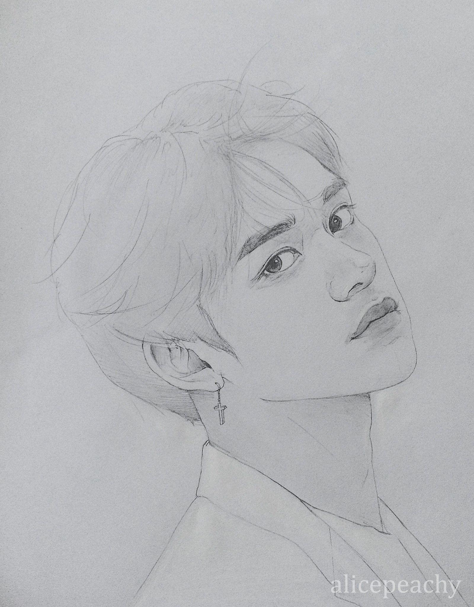 Lucaaas Jungwoo Version Sketsa Ilustrasi Cara Menggambar