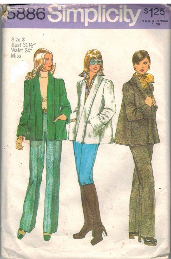 5886 Vintage Simplicity Sewing Pattern Misses Winter Jacket Pants ...