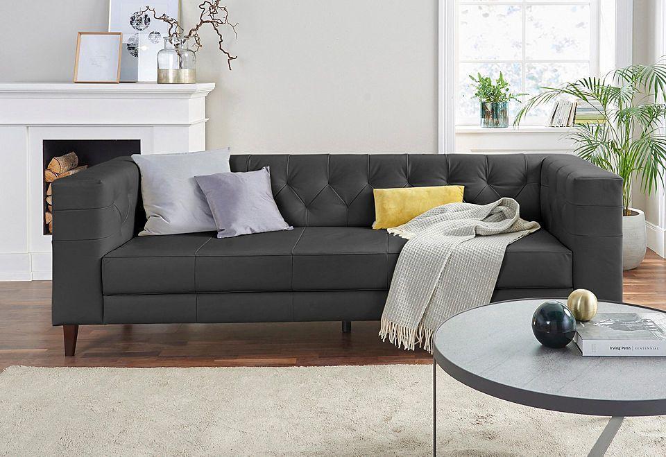 Alte Gerberei 3-Sitzer Sofa »Evelin« mit Knopfheftung Jetzt