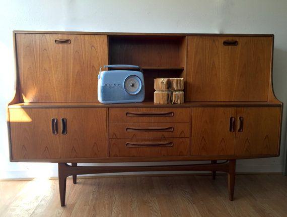 Retro Vintage G Plan Sideboard Highboard Bureau Mid Etsy G Plan Sideboard Unwanted Furniture Clean Modern