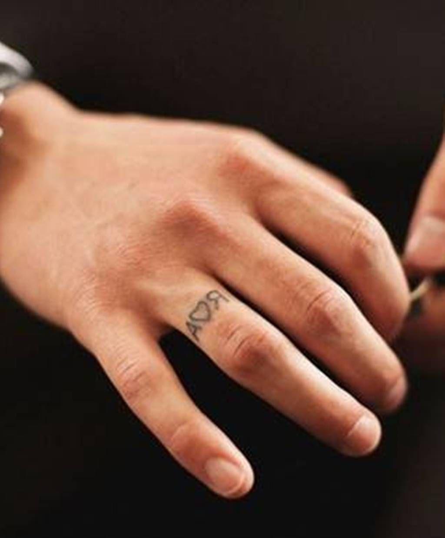 faint wedding ring tattoo husbands initials Love love love