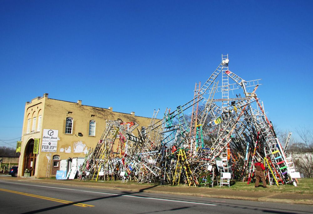 final installation of Rise Up Chattanooga, a public art project by artist Charlie Brouwer.