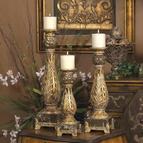 From stylish home decor old world tuscan candle holders for Old world home decor