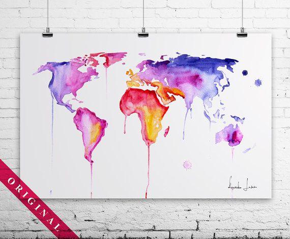 Colorful world map original watercolor painting wall art on colorful world map original watercolor painting wall art on etsy 8000 love sciox Choice Image