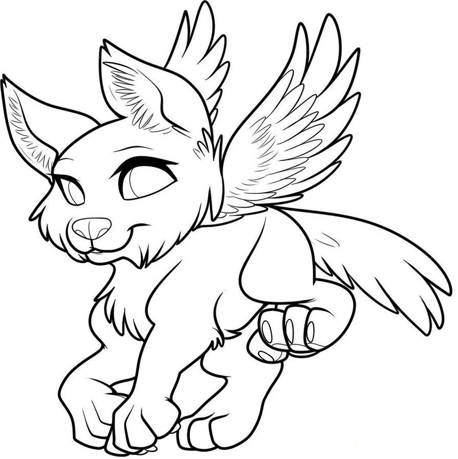 Free Winged Pup Lineart Animal Templates Animal Coloring Pages Drawings