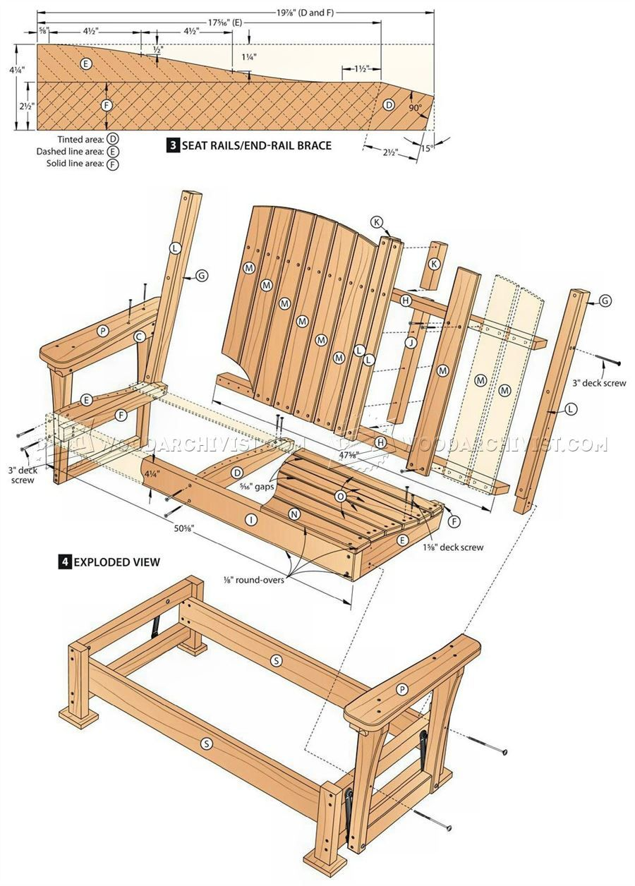 #57 Glider Bench Plans   Outdoor Furniture Plans