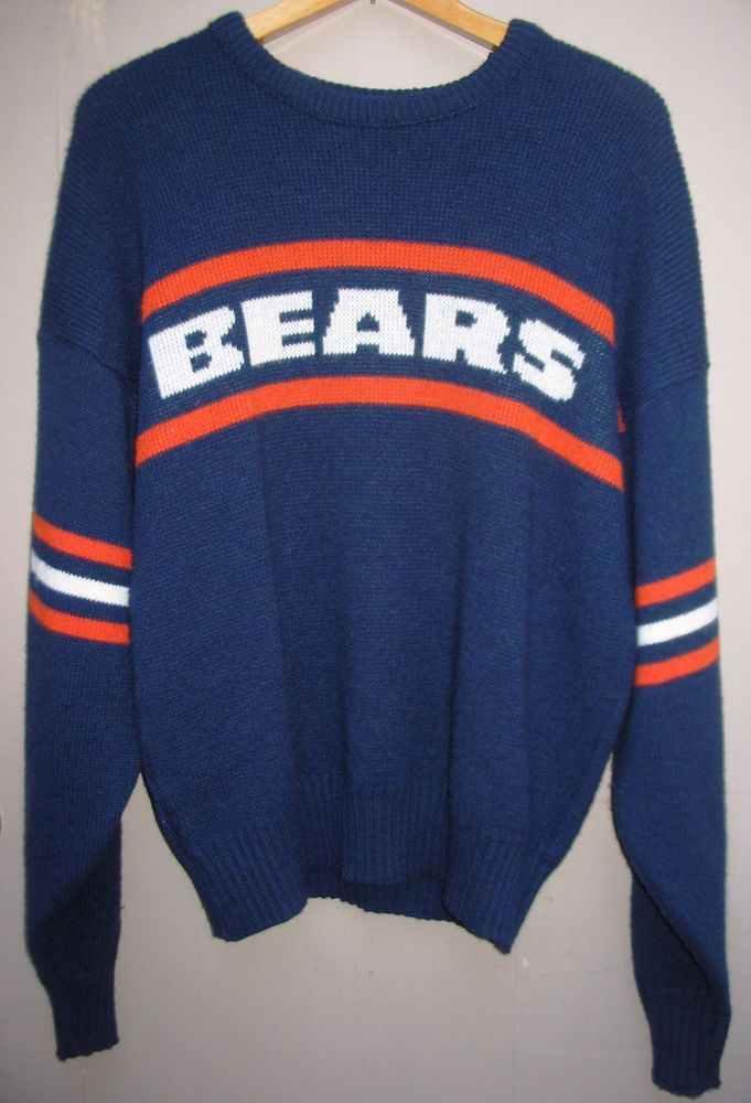 f26829ba Vintage 80s Chicago Bears Sweater Cliff Engle Adult L Mike Ditka NFL ...
