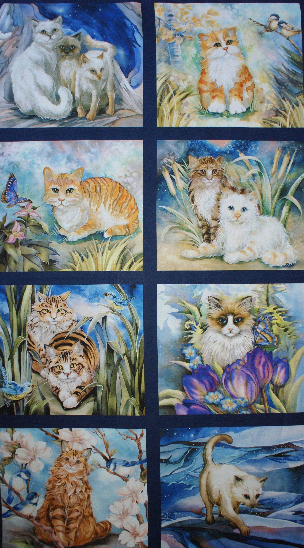 Panel Cats Fabric 60 Cm Katzen Stoff Katzen Katzen Namen