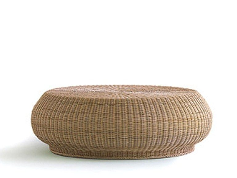 Low round woven wicker coffee table BOLLA 15 by Gervasoni design ...