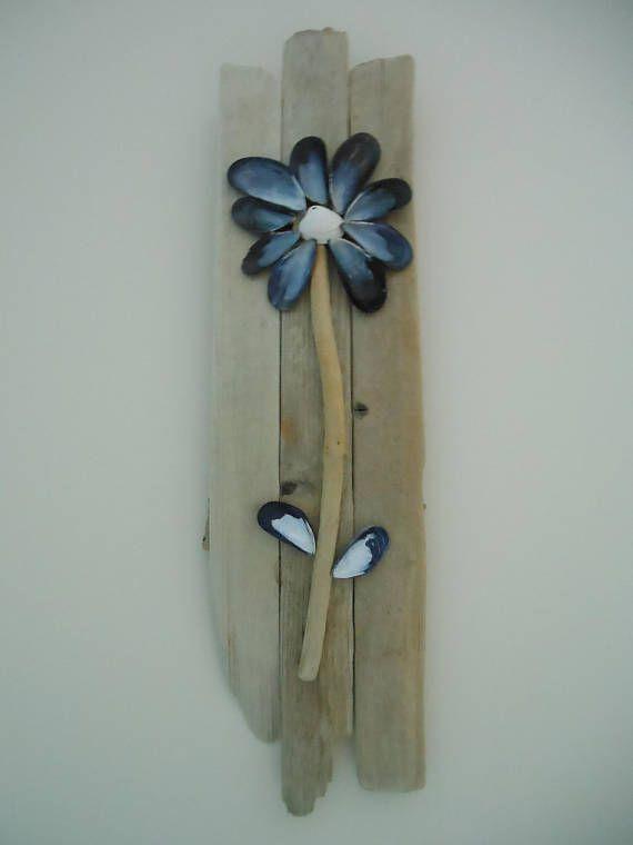 Blue Mussel Shell And Driftwood Flower Wall Art Beach Decor Beach