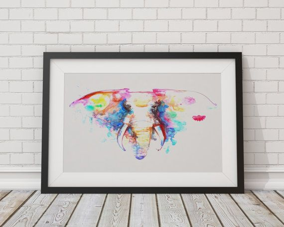 Elephant Watercolor Flowers Painting Art by TheBohoWordsmith