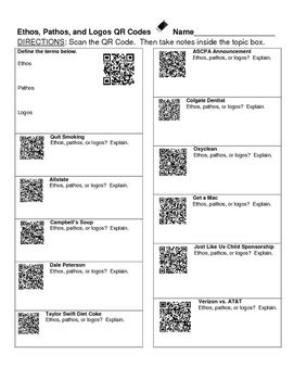 Ethos, Pathos, and Logos QR Codes Worksheet | Qr code scanner, Qr ...