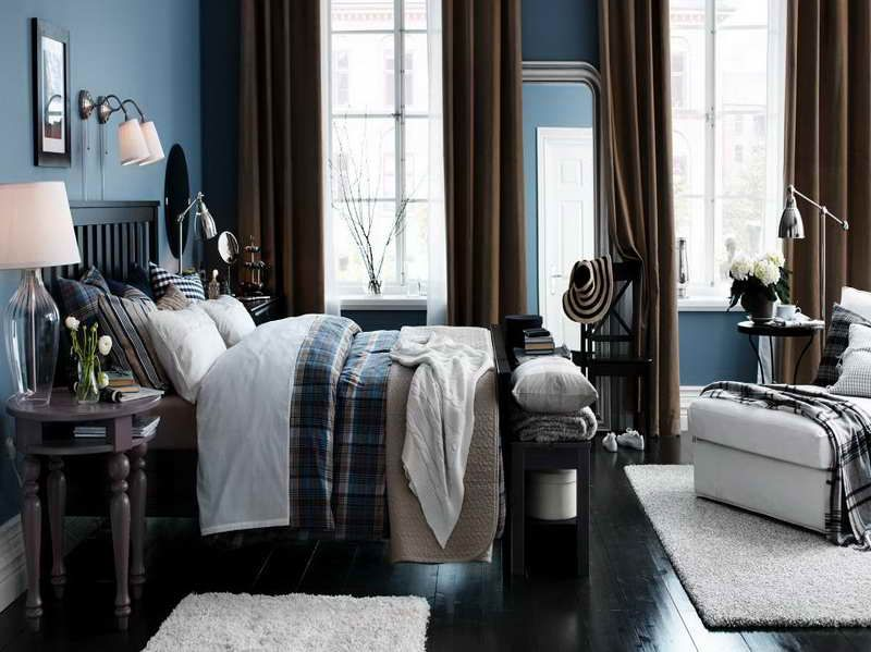Blue Walls Dark Floors Brown Curtains And White Rug I