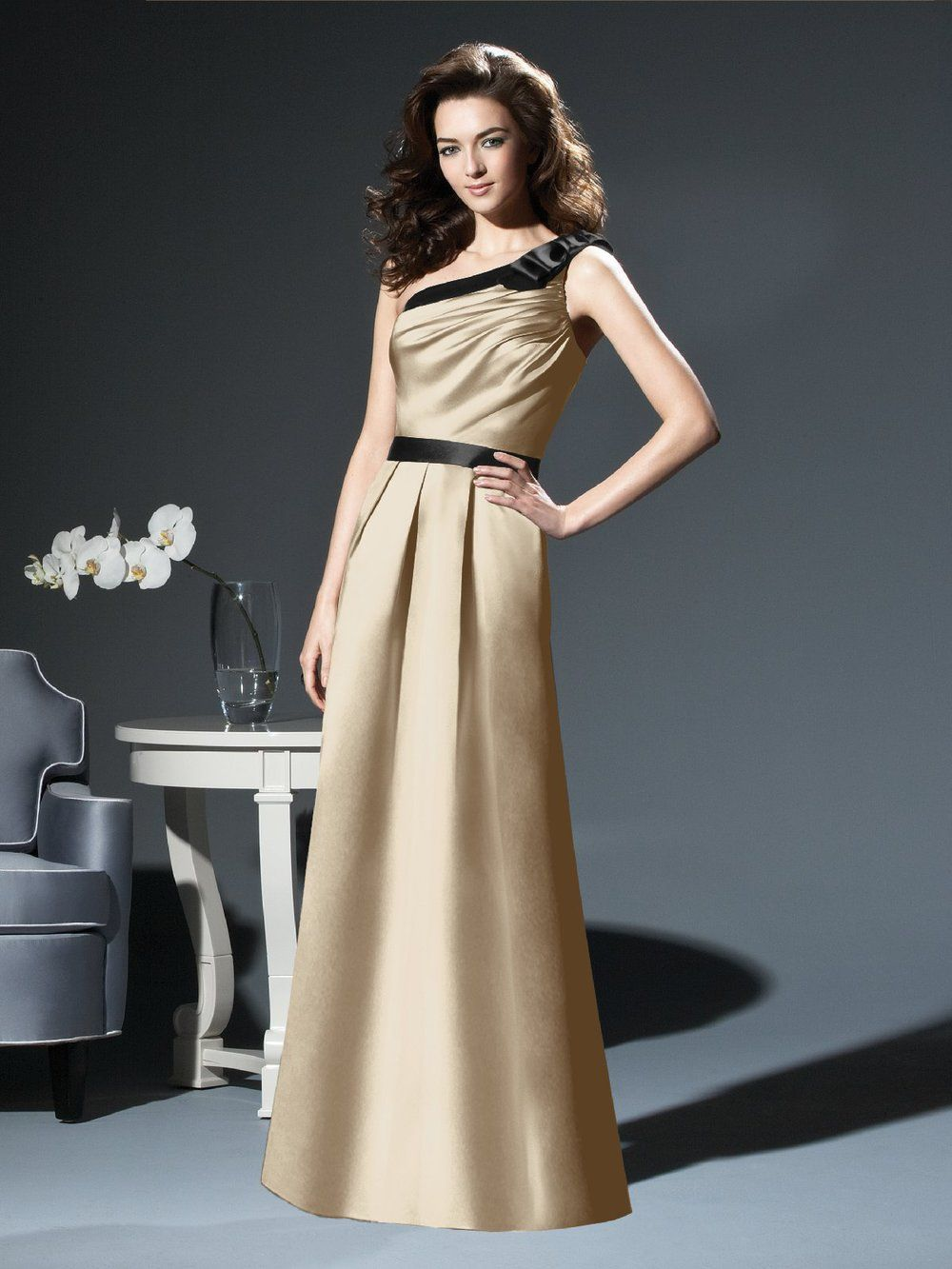 2 a line one shoulder gold black plain exclusive gold ruching sash satin one shoulder bridesmaid dress ombrellifo Image collections