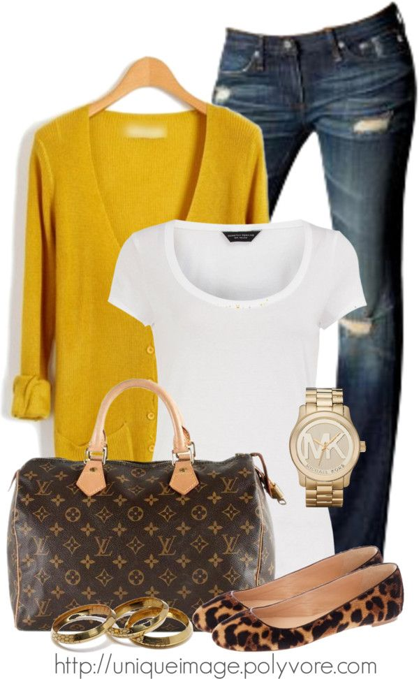 Love the simplicity of this. White tee, skinny jeans, mustard cardigan, classic watch, flats, and a monogrammed designer bag.