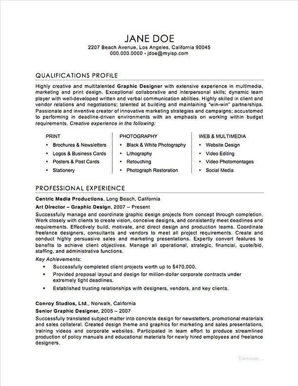 Graphic Designer Resume Examples Graphic Design Resume Sample  Resume  Pinterest  Graphic Design