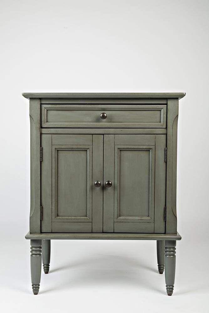 Photo of Wooden Door Nightstand With Drawer & 2 Door Cabinet, Gray – BM181681