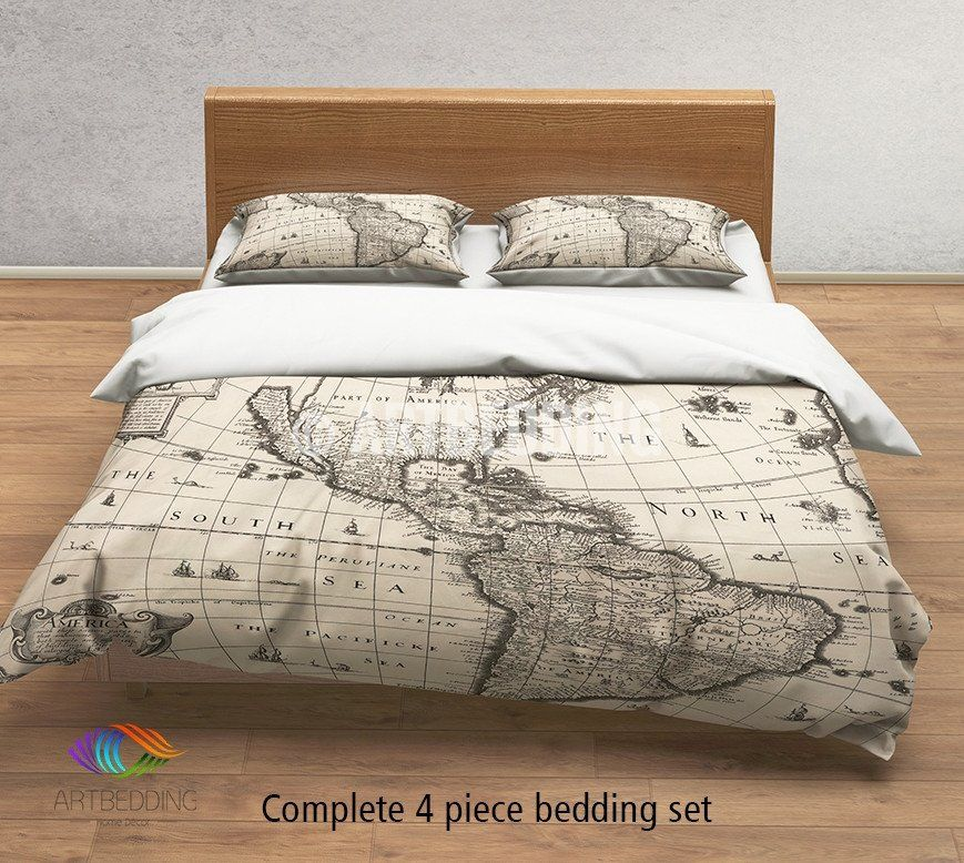 Complete 4-piece World Map bedding set  Maps never get out of fashion. That is why so many are fond to them and lets do not forget that they are really hot trend right now. Faded vintage maps contribute to the bohemian feel of a house. Maps are exciting and and however you chose to display them, they will impart to your home just a little bit of mystery and worldly cool. Vintage prints work wonderfully as a statement fabric in any room.    Our Luxury Reversible down Duvet Cover set…