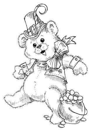 St Patrick Bear, line drawing - illustration | Digi stamps ...