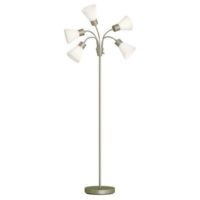 5 Head Floor Lamp White Shade With Silver Frame Room Essentials