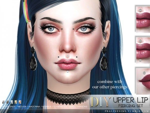 The Sims Resource: Upper Lip Piercing Set by pralinesims • Sims 4 Downloads