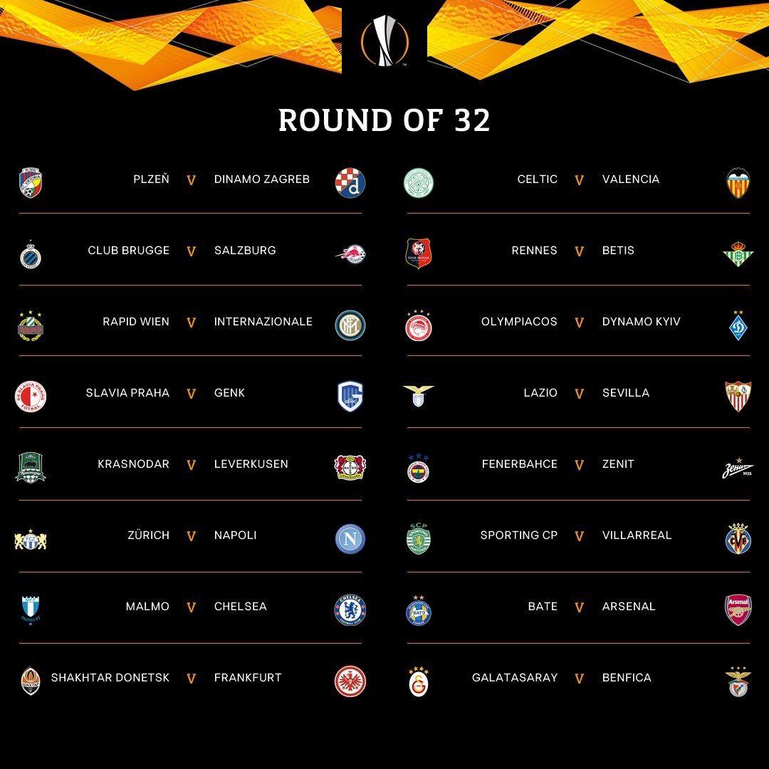 Uefa Europa League Round Of 32 Fixtures Europa League Valencia Club Chelsea