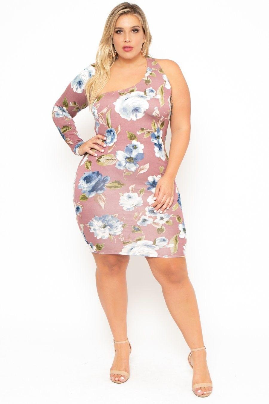 35f7e872b Plus Size Floral One Sleeve Asymmetric Dress- Mauve  29.00  fashion  ootd   outfit  oufits  moda  plussize  dress  dresses  plussizeclothing   plussizedress ...
