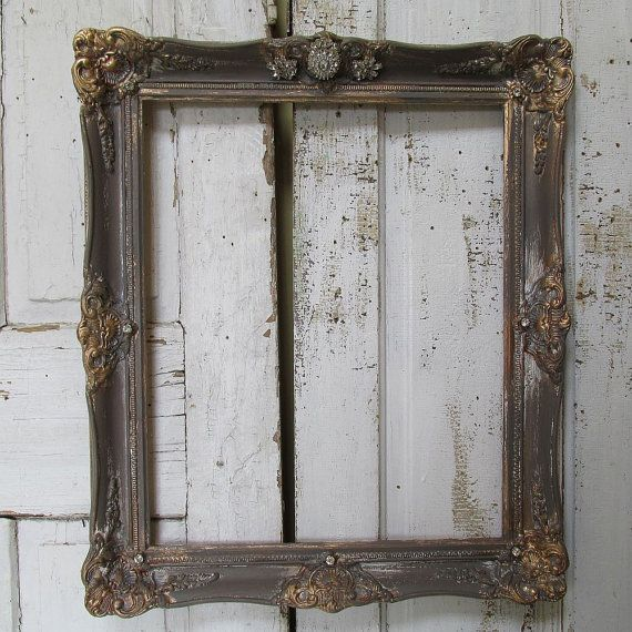 Ornate Wooden Wall Frame Antique Farmhouse Gray Putty And